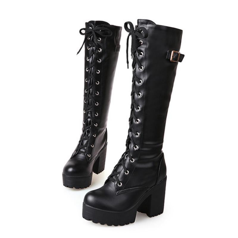 Knee-High Chunky Boots - BLACK RABBIT STORE