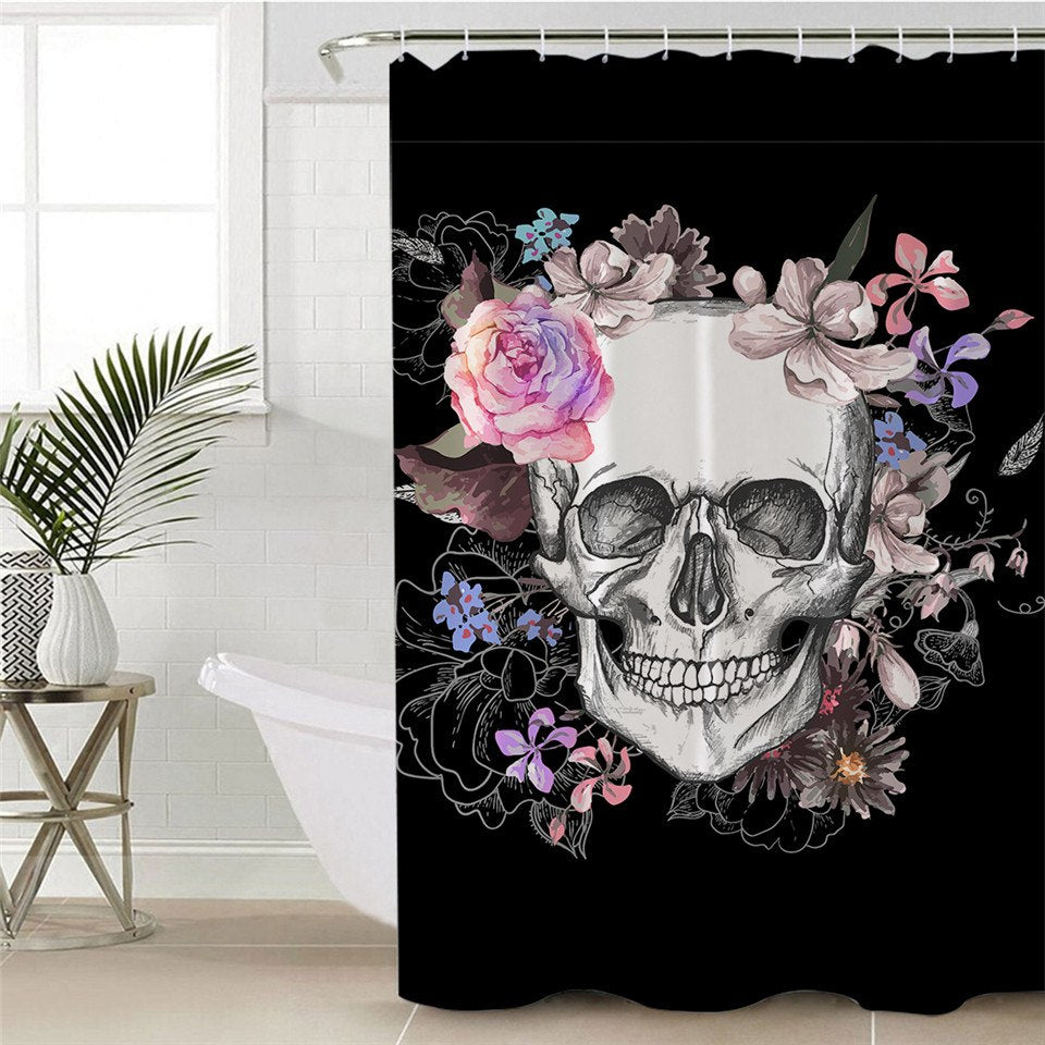 Rose Skull Shower Curtain - BLACK RABBIT STORE