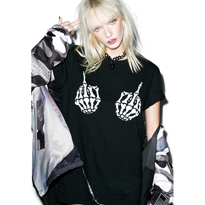 Punk Style Hip Hop T-Shirt - BLACK RABBIT STORE
