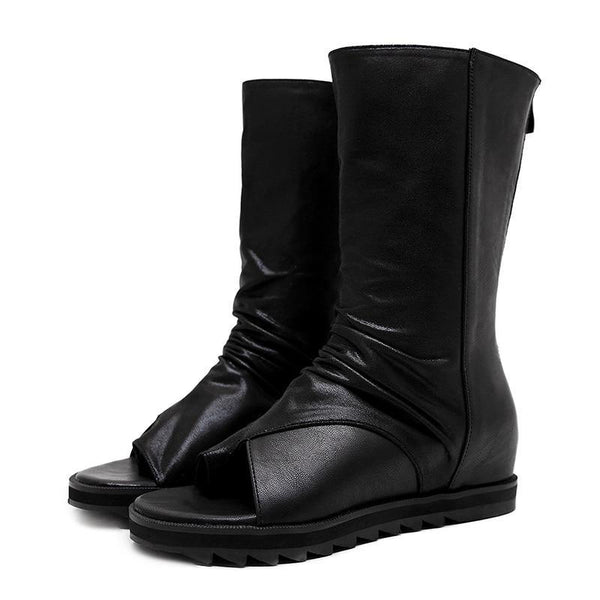 Diamanda Mid-Calf Gothic Boots - BLACK RABBIT STORE