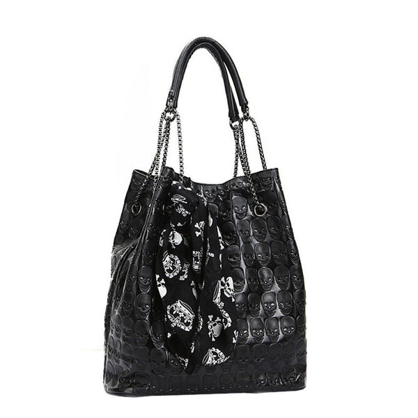 Skeleton Skull Shoulder Tote - BLACK RABBIT STORE