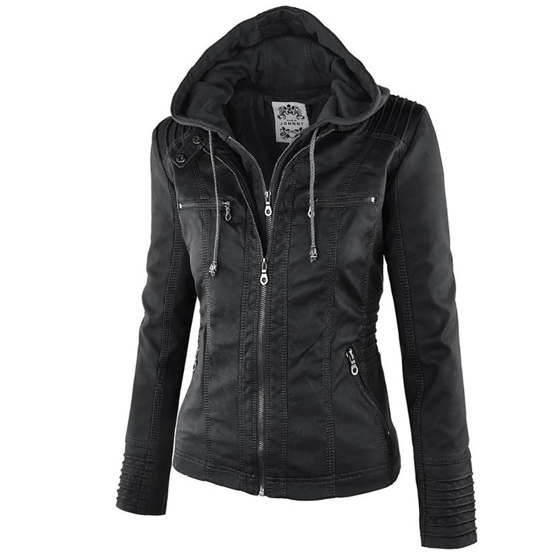 Punk Hooded Motorcycle Jacket - BLACK RABBIT STORE