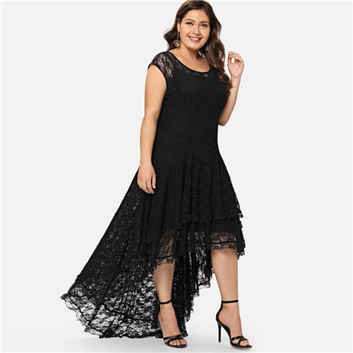 Gothic Diva Backless High Low Plus Size Dress - BLACK RABBIT STORE