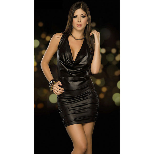 Babydoll Latex Leather Dress - BLACK RABBIT STORE