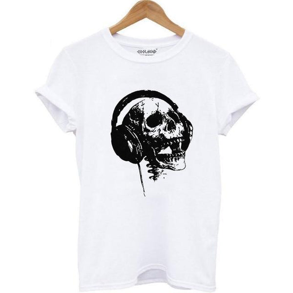 Rock Skull Headphones T-Shirt - BLACK RABBIT STORE