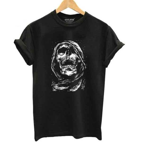 Scarfed Skull Gothic T-Shirt - BLACK RABBIT STORE