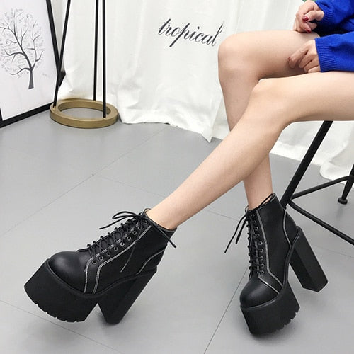 Graveyard Keeper Square Heel Boots - BLACK RABBIT STORE