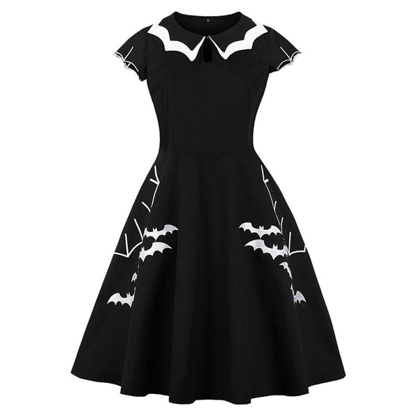 Gothic Retro Embroidered Bat Dress - BLACK RABBIT STORE
