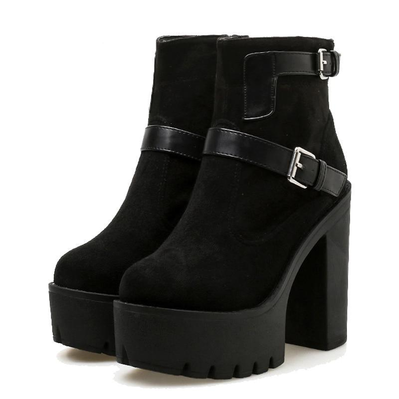 Hermoinie High Heel Ankle Boots - BLACK RABBIT STORE