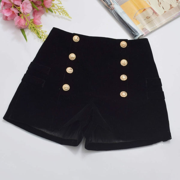 Rich Sassy Velvet Shorts - BLACK RABBIT STORE