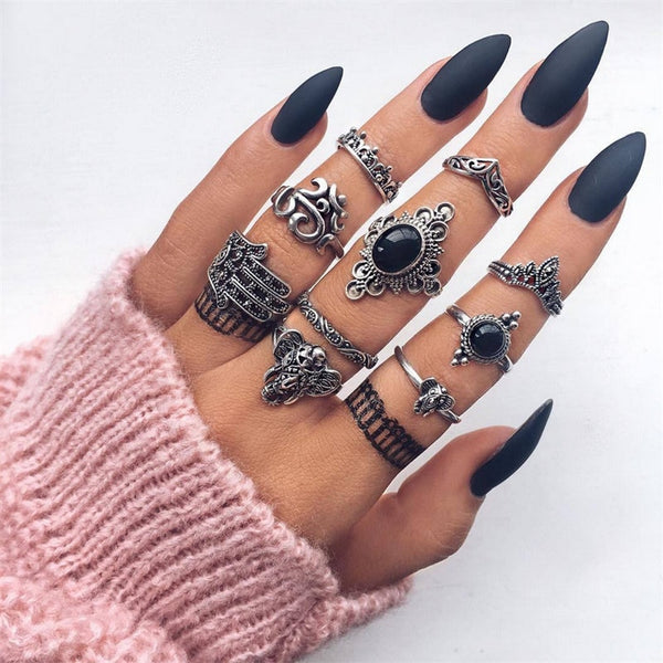 Dark Stone Ring Set - BLACK RABBIT STORE