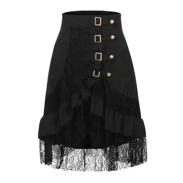 Black Steampunk Lace Skirt - BLACK RABBIT STORE