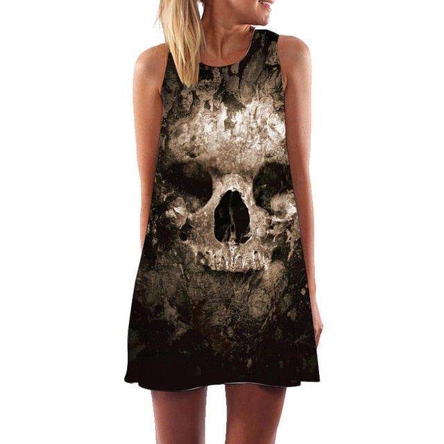 Golgotha Gothic Printed Dress - BLACK RABBIT STORE