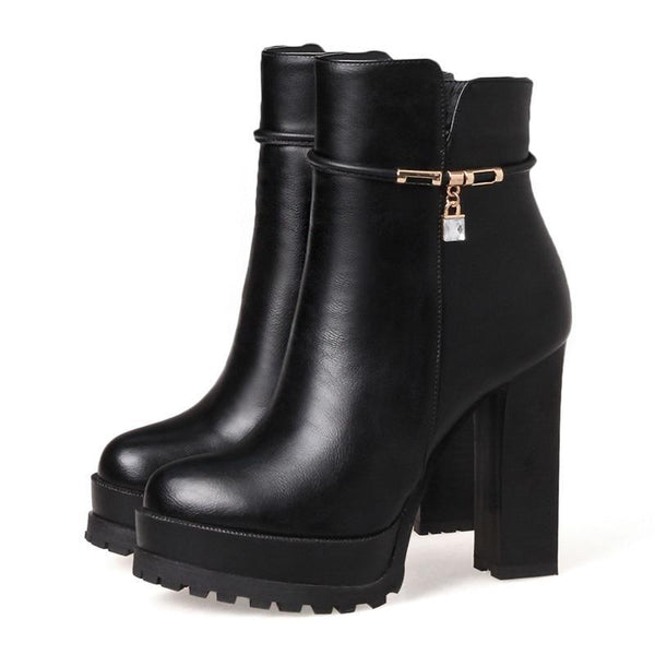 Badriyah Crystal Ankle Boots - BLACK RABBIT STORE