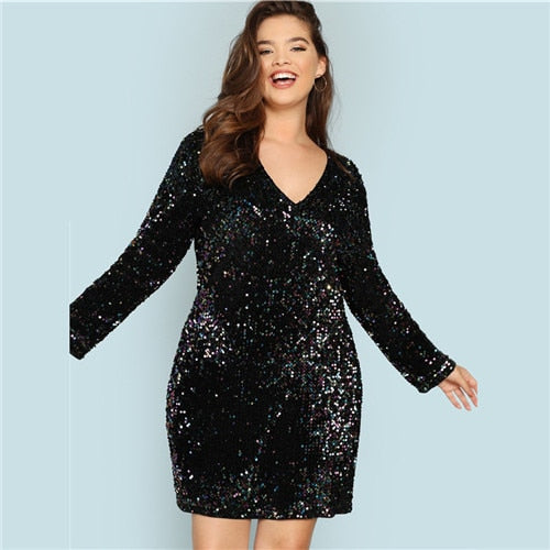 Party Sequin Plus Size Black Dress - BLACK RABBIT STORE