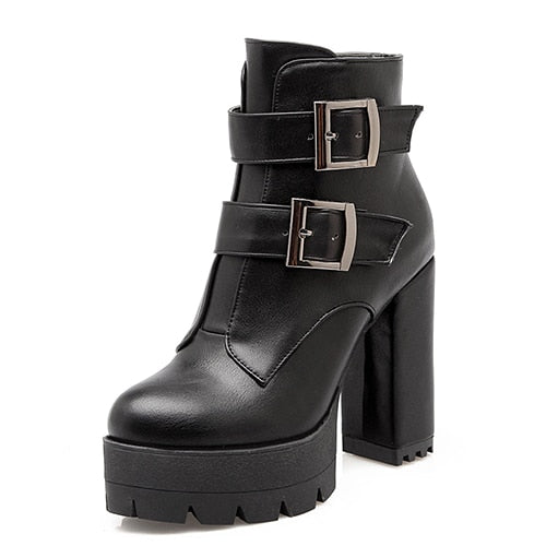 Ravina High Heels Rubber Sole Platform Boots - BLACK RABBIT STORE