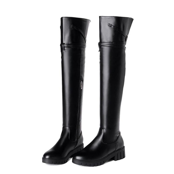 Broom Rider Knee High Boots - BLACK RABBIT STORE