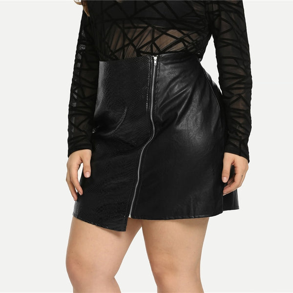 Front Zipper Vegan Leather Plus Size Sexy Skirt - BLACK RABBIT STORE
