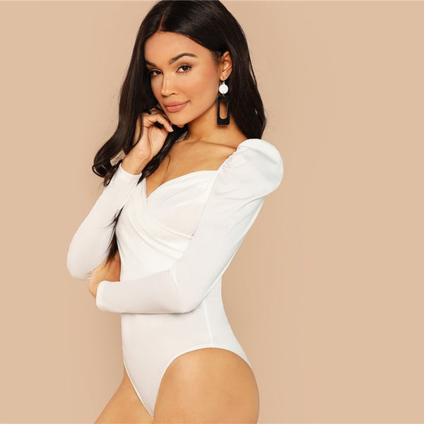 Solid Ruched Puff Sleeve Skinny White Bodysuit