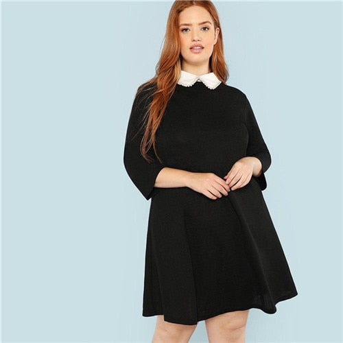 Solid Black Knee-Length Collared Plus Size Dress