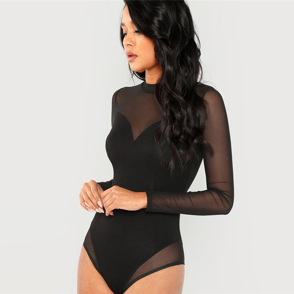 Witchy Choice Mock Neck Mesh Panel Sexy Bodysuit - BLACK RABBIT STORE