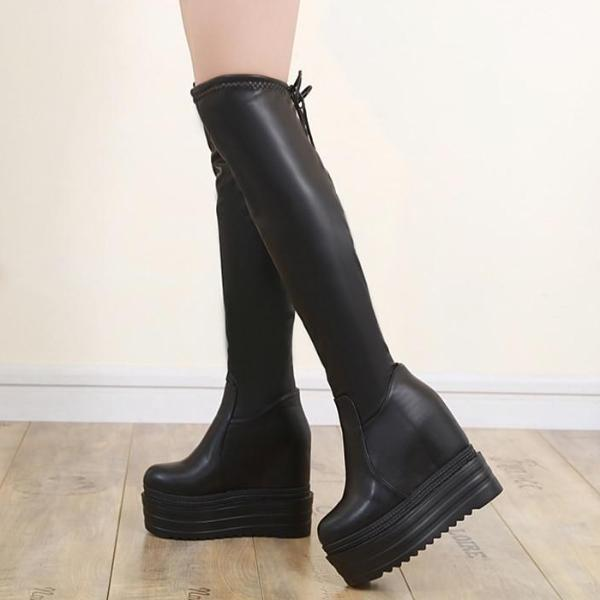 Grave Bound Knee High Boots - BLACK RABBIT STORE