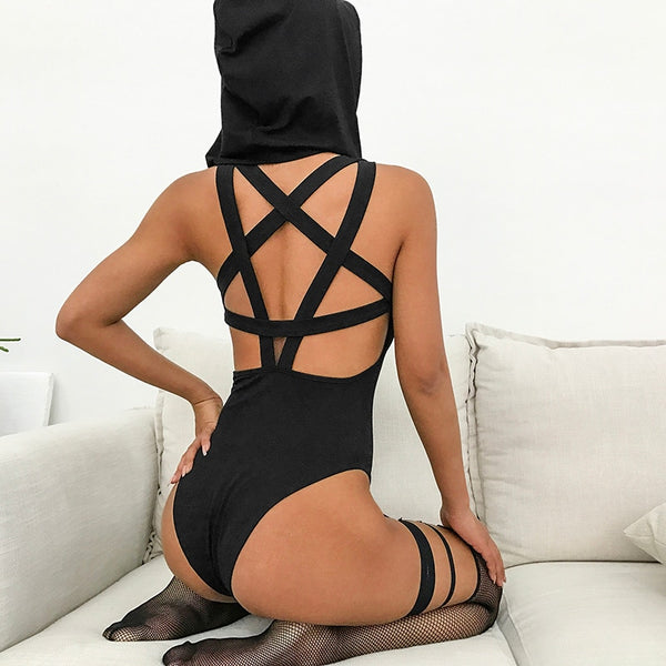 Pentagram Hooded Bodysuit - BLACK RABBIT STORE