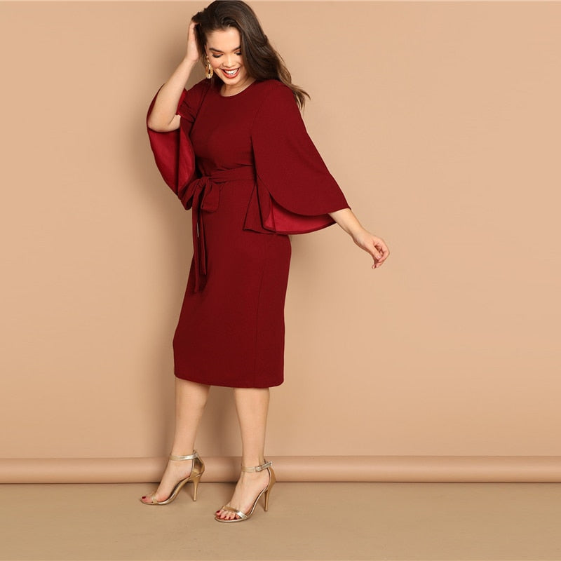 Burgundy Split Sleeve Plus Size Dress - BLACK RABBIT STORE