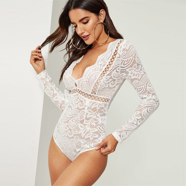 White V-Neck Scalloped Lace Skinny Bodysuit - BLACK RABBIT STORE