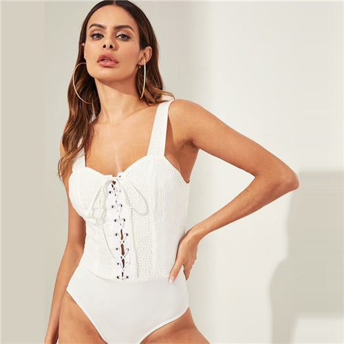 White Scoop Neck Lace-up Front Eyelet Bodysuit - BLACK RABBIT STORE
