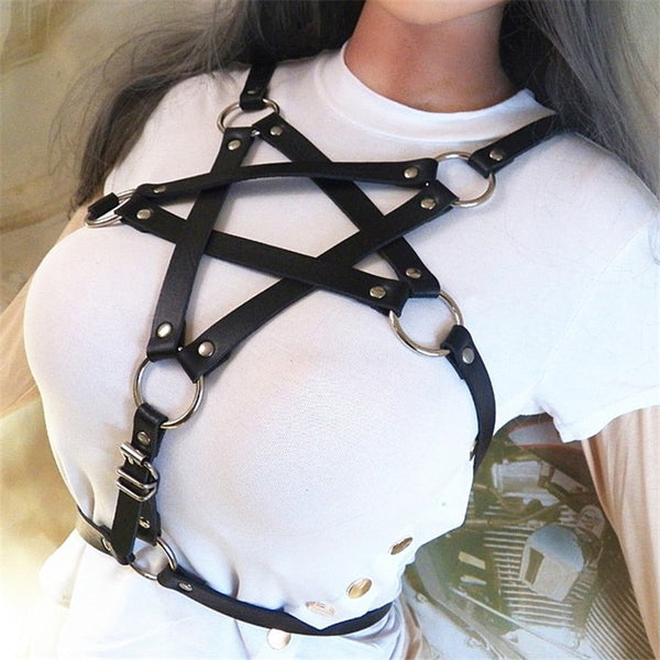 Gothic Pentagram Leather Harness - BLACK RABBIT STORE