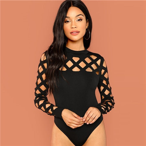 Mock Neck Geo Cut Skinny Bodysuit - Black - BLACK RABBIT STORE