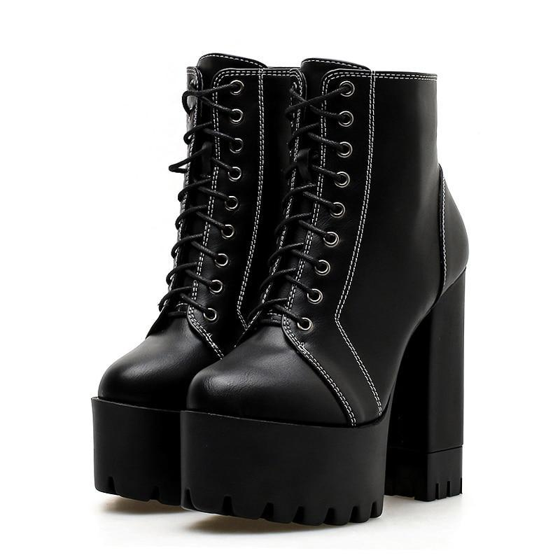 Ethelinda Thick Heels Gothic Boots - BLACK RABBIT STORE