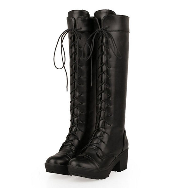 Gothic Lace Up Knight Boots