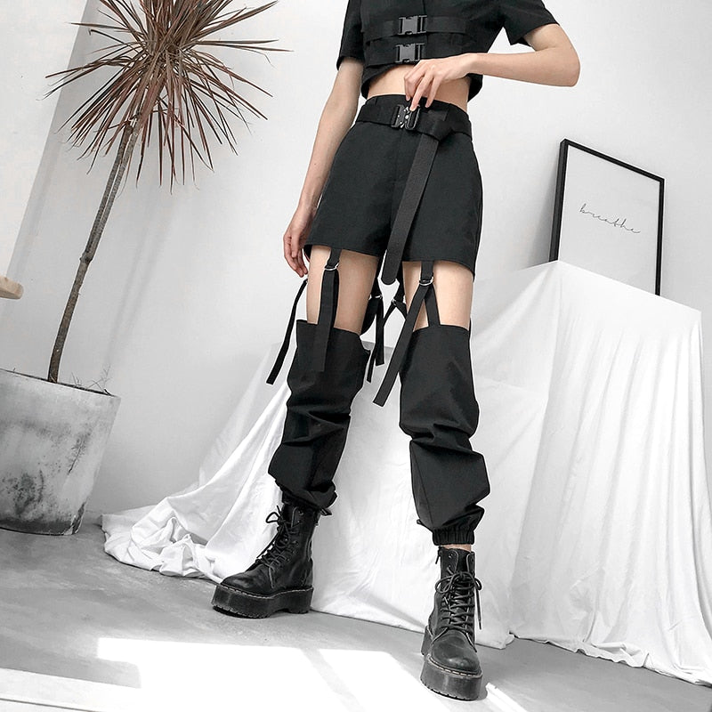 Hollow-Out Harajuku Harem Pants - BLACK RABBIT STORE