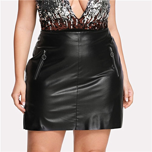 Solid Black Vegan Leather Plus Size Punk Skirt | Shop PLUS Skirts -BRS