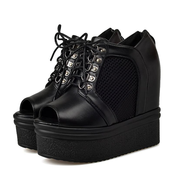 Dead Forever Platform Wedges - BLACK RABBIT STORE