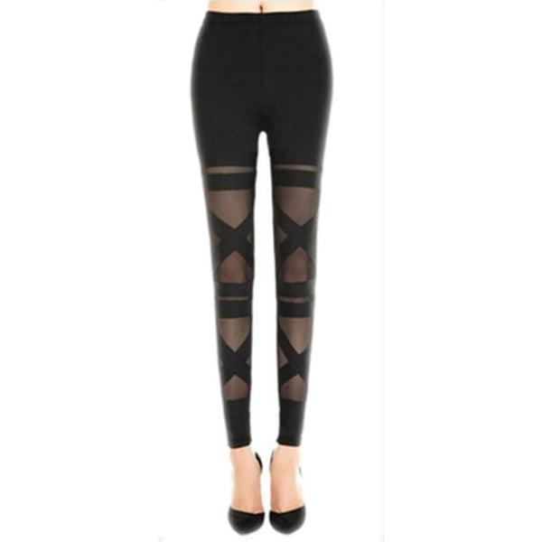 Bandage Mesh Gothic Leggings - BLACK RABBIT STORE