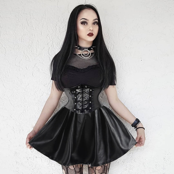Punk Babe Vegan Leather Skirt - BLACK RABBIT STORE