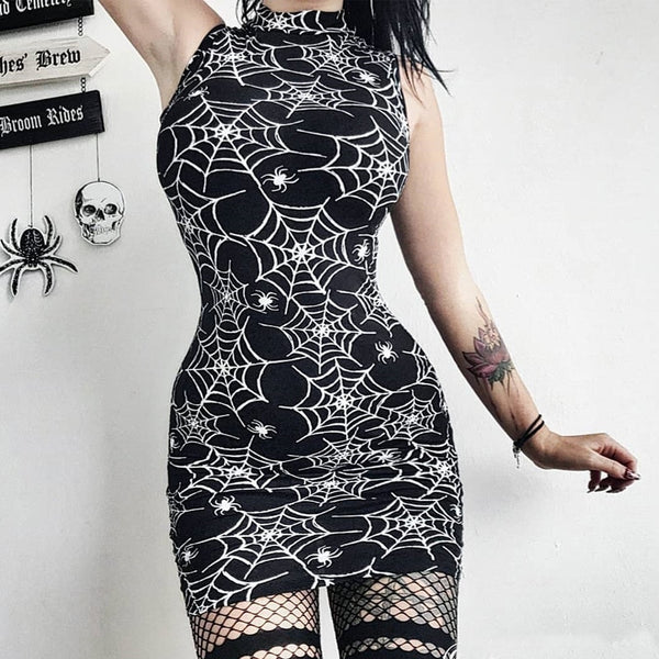 Web Goddess Gothic Spider Web Print Bodycon Dress - BLACK RABBIT STORE