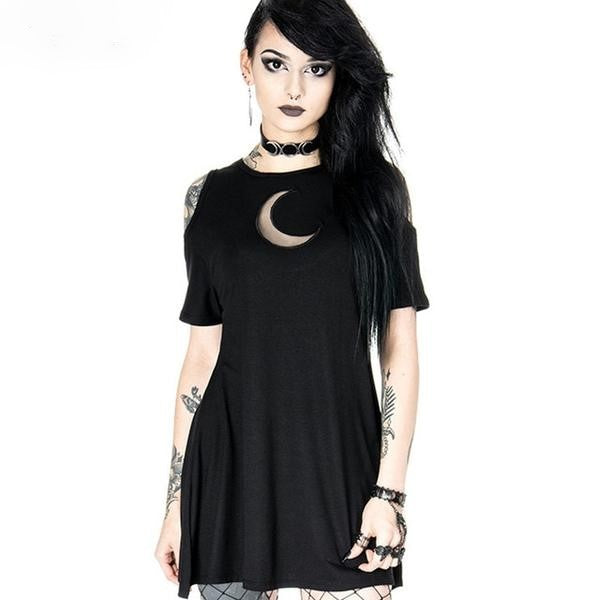 Little Miss Death Grunge Gothic Moon Dress - BLACK RABBIT STORE