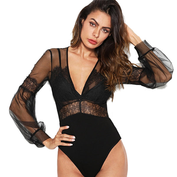 Black Lace Insert Sheer Mesh Skinny Bodysuit - BLACK RABBIT STORE