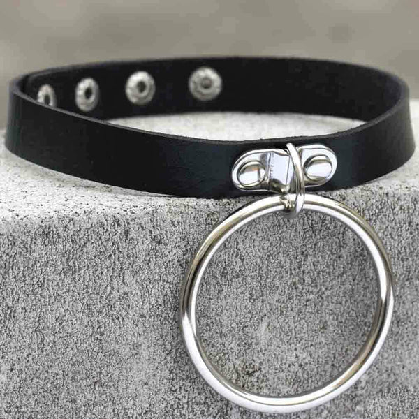 Women's Punk Black Choker With Big O-ring - Black Rabbit Store