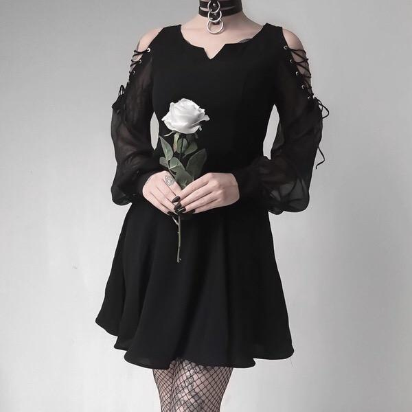 Women's Cold Shoulder Punk Dress - Black Rabbit Store