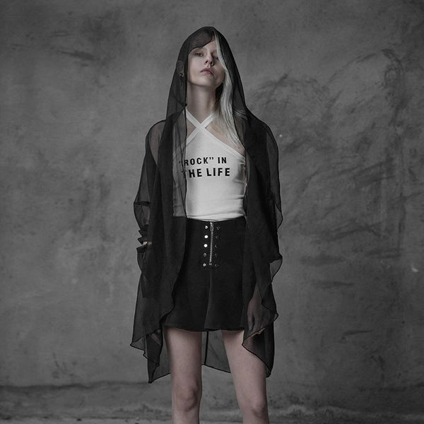 Women's Diaphanous Punk Hooded Shrug - Black Rabbit Store