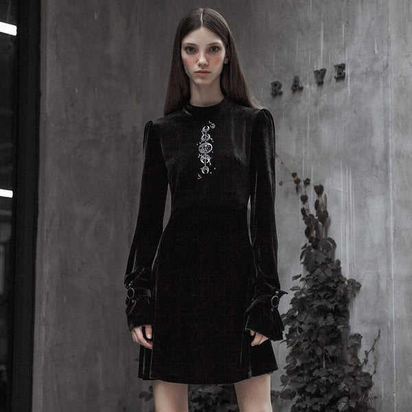 Women's Goth Embroideried Long Sleeved Velvet Black Little Dress - Black Rabbit Store