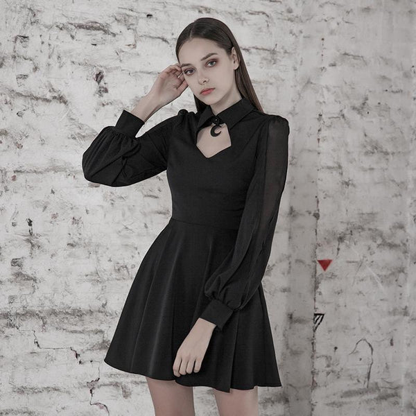 Women's Goth Hollow Out Chiffon Black Little Dress - Black Rabbit Store