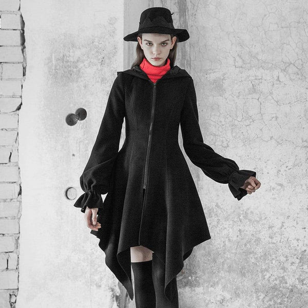 Women's Goth Irregular Puff Sleeved Hooded Overcoat - Black Rabbit Store