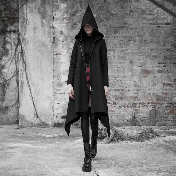 Women's Goth Irregular Witch Woolen Overcoat With Hood - Black Rabbit Store
