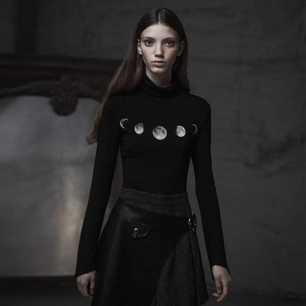 Women's Goth Turtleneck Irregular Moon Printted T-shirt - Black Rabbit Store